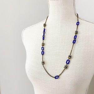 J. Crew Blue Link Long Necklace
